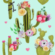 Beautiful watercolor cacti, cactuses, succulents with flowers, tied bows and hearts seamless pattern