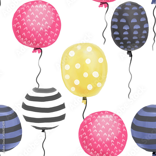 Beautiful, watercolor balloons seamless pattern. Colorful balloons - pink, blue, yellow and black. Birthday pattern, background - 186452409