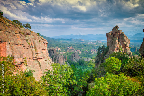 Fotobehang Blauwe jeans Belogradchik Rocks in Bulgaria - rock formations natural landscape