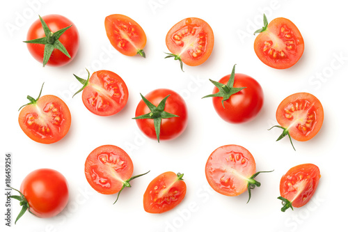 Foto Spatwand Kersen Cherry Tomatoes Isolated on White Background