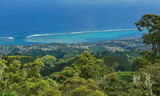 French Polynesia Tahiti island, view to the coast of Punaauia and its lagoon from the mountains, south Pacific ocean - 186463242