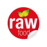 Raw food label tag red - 186463676