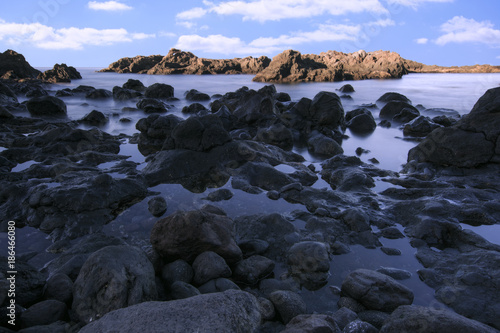 Fotobehang Nachtblauw Sea Landscape in Tenerife . Canary Islands. Long exposure