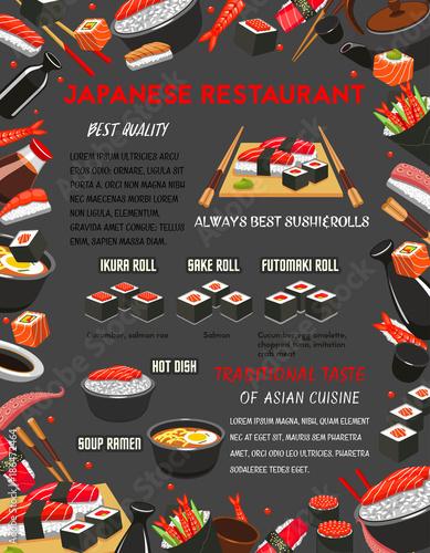Japanese restaurant sushi and hot dishes menu - 186472464