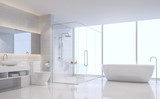 Modern white bathroom 3d rendering image. There are white tile wall and floor.The room has large windows. Looking out to see the scenery outside. - 186473432