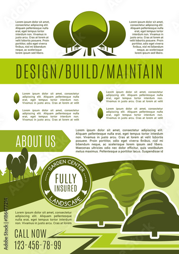 Fotobehang Wit Landscaping and gardening business poster