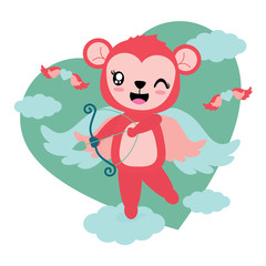 Cute monkey girl brings love arrow as cupid vector cartoon illustration for Happy Valentine card design, postcard, and wallpaper