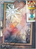 Sfondo misterioso con collage,tarocchi,cuore a pois,sole e formule chimiche