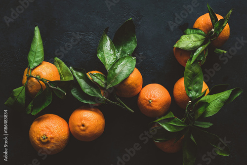 Tangerines or clementines with green leaf. Still life on dark background. Top view, toned image