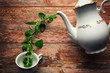 Tea time concept. White ceramic teapot, tea cup and fresh organic herbs, against wooden background.