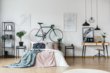 Bicycle and cushion in bedroom
