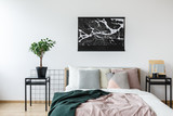 Hotel room with map poster - 186487017