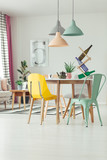 Mint and yellow dining room - 186487084