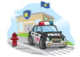 cartoon police car in front of police office - 186488430