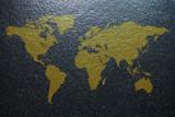 World Map on granite background