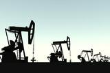 Oil field pumping unit silhouette 3D illustration