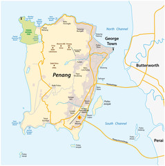 vector map of malay island city penang