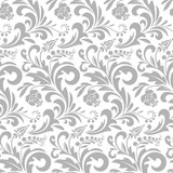 Wallpaper in the style of Baroque. A seamless vector background. Gray and white texture. Floral ornament. Graphic vector pattern