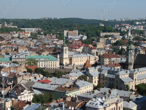 A panorama of the city of Lviv in western Ukraine from the roof of the city of Lviv city hall. - 186492298