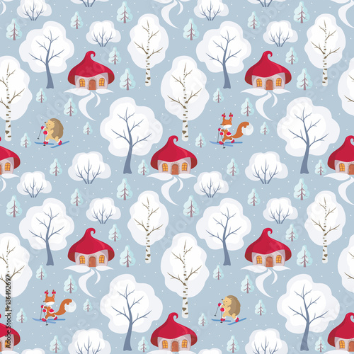 Children's seamless pattern with the image of funny forest animals and winter landscape. Vector background.