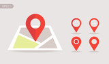 New Flat design location map with red pin, label, marker, sign. Modern Vector EPS 10. - 186494046
