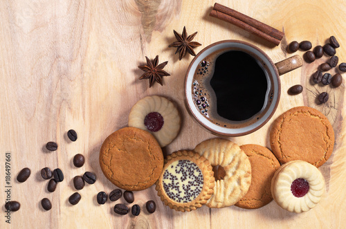 Coffee and different cookies - 186497661