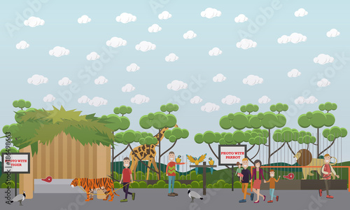 Fotobehang Zoo Zoo animals vector flat illustration