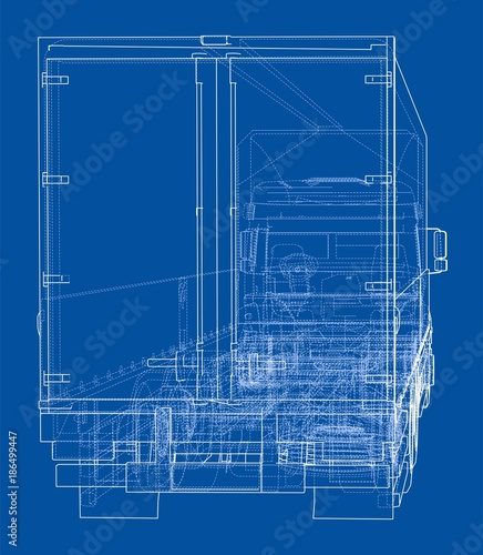 Aluminium Auto European truck outlined vector