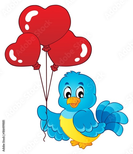 Fotobehang Voor kinderen Bird with heart shaped balloons theme 1