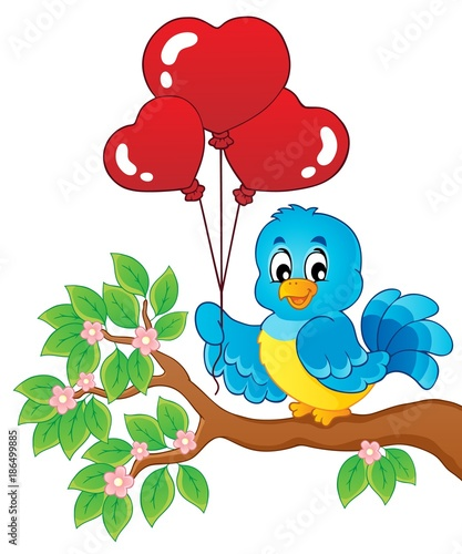 Fotobehang Voor kinderen Bird with heart shaped balloons theme 2