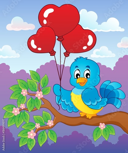 Fotobehang Voor kinderen Bird with heart shaped balloons theme 3