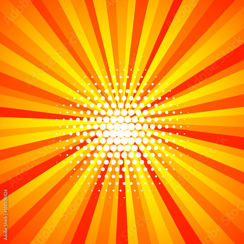 Fotobehang Pop Art Yellow orange colored summer Pop-Art style blue comics book background, Lichtenstein popart. Pop art comic strip backdrop sunlight, sun ray space. Funny halftone dotted template. Vector illustration.