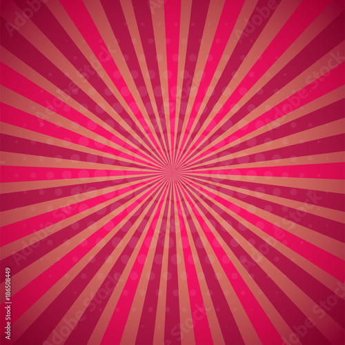 Fotobehang Pop Art Red pink colored Pop-Art style blue comics book background, Llichtenstein popart. Pop art comic strip backdrop sunlight, sun ray space. Funny halftone dotted template. Vector illustration.