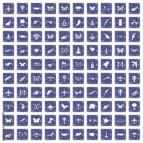 Foto op Aluminium Vlinders in Grunge 100 fly icons set grunge sapphire