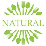 Natural Spoon Fork Knife Circular Green  - 186520630