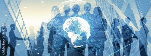Global business concept. Silhouette of business people. - 186521656