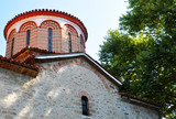 the roof of an ancient Orthodox church built of stones - 186524867