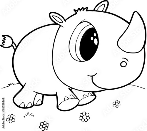 Fotobehang Cartoon draw Cute Rhino Vector Illustration Art
