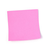 Pink post it paper note on white background - 186534254