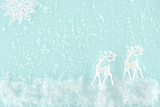 christmas background with decorative snow, snowflake and paper deer, isolated on light blue - 186536221