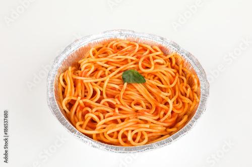 Fotobehang Napels Nudeln in Tomatensoße