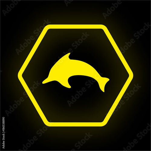 Fototapeta Neon Button Polygon - Delfin