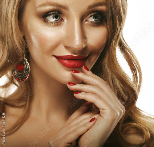 Foto Murales Beautiful young model woman with red lips and curly blond hair