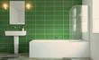 Spacious bathroom, clean, beautiful, luxurious, bright room. 3D rendering. - 186550696