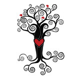 stylized tree with hearts on a white background