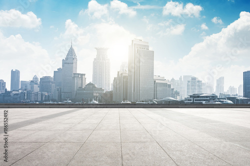 Plakat cityscape and skyline of shanghai from empty marble floor
