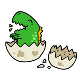 cartoon dinosaur hatching from egg