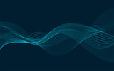 Fototapety Abstract vector wave flow. Sound oscillation design. Flowing particles.