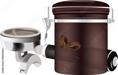 manico porta filtro e contenitore del caffè - 186563654