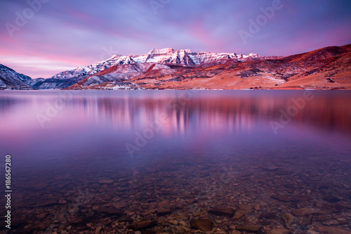 Foto op Canvas Aubergine Winter dawn reflection in Deer Creek, Utah, USA.